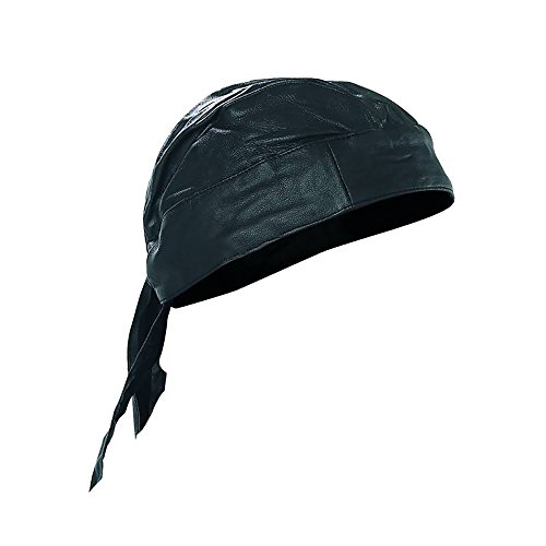 Skull Cap Biker Solid Leather Lined Motorcycle Bandana Head Wrap Du Doo Do Rag Black ()