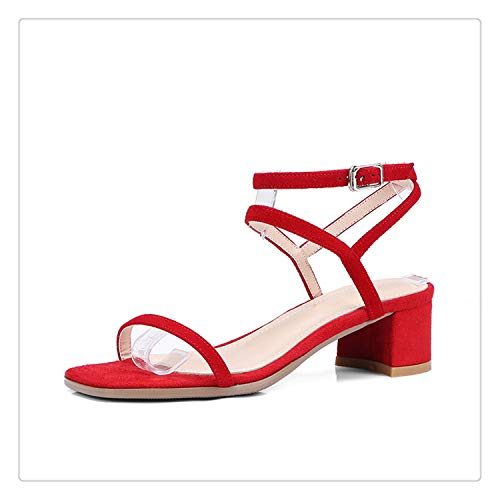 - QQFLRB& 2018 Fashion Large Size 33-40 Kid Suede Genuine Leather Summer Woman Sandals Woman Square High Heels Shoes Red 3