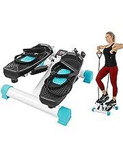 Mini Stepper Fitness, Stepper Fitness con Bande di Allenamento e Display LED, Swing Stepper aerobico per esercizi da allenamento a casa palestra, 37x22x40,5 cm