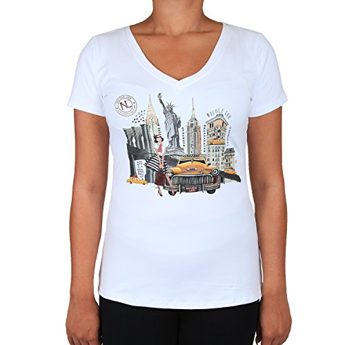 - White Taxi And New York Scenery Print V-neck tee [Large]