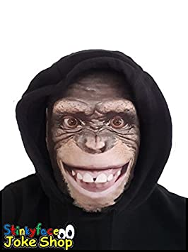 Monkey Full Head Mask Realistic Animal Printed Lycra Funny Scary Fancy Dress Stag Hen Party