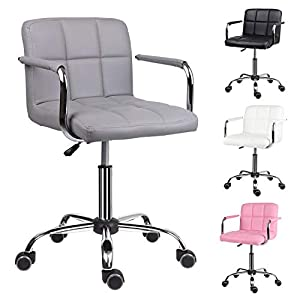 EUCO Grey Desk Chair,PU Leather Computer Chair Adjustable Height Comfy Office Chair with Armrest Padded Swivel Chair…