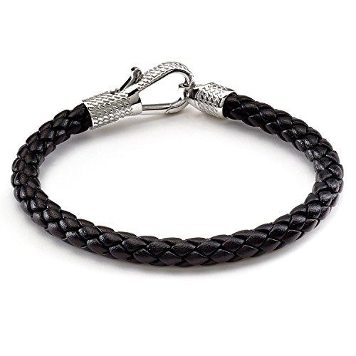 Tateossian Men's Leather Ziggy Bracelet with Silver Clasp - 18 CM, Black