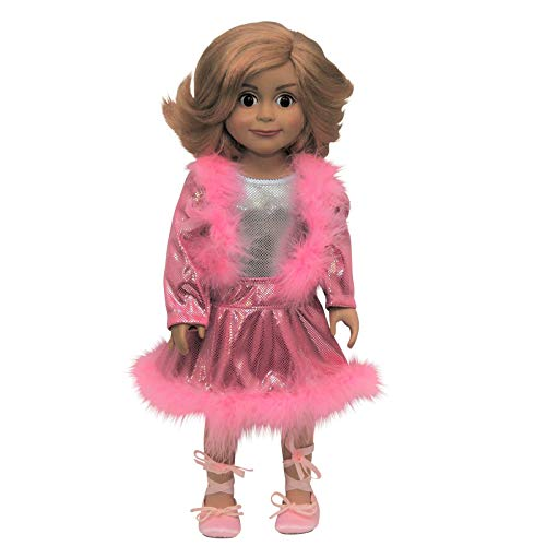 The Queen's Treasures Skating Dance Set Pink Boa Trim Jacket and Skirt Fits 18 Inch American Girl Doll Clothes & Accessories
