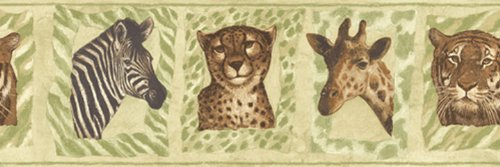 (Jungle Animals Zebra Tiger Cheetah Giraffe Wallpaper Border)