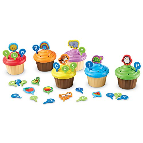41ZuT8C2KxL - Learning Resources ABC Cupcake Party Toppers, Early Alphabet Learning, Vocabulary Toy, Ages 3+