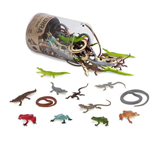 Terra by Battat - Reptiles In Tube - Assorted Plastic Reptile Animal Toys & Cake Toppers For Kids 3+ (60 Pc)]()