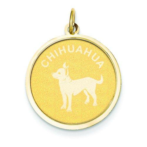 14K Gold Chihuahua Disc Charm
