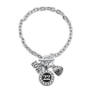 Inspired Silver My Sports Number Circle Charm Baseball Glove Toggle Charm Bracelet- Number 22