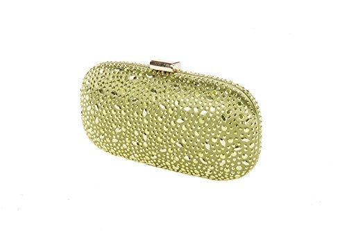 Clutch in raso con decorazioni in cristalli e strass