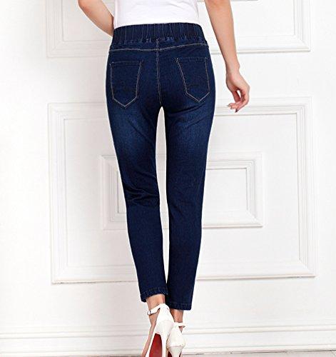 7 Slim Bleu Skinny Cropped Taille Jean Pantalons Automne Stretch 8 Longueur Cheville Fonc Femme Elastique Grande Jeans Denim YuanDian Casual qwRYURX