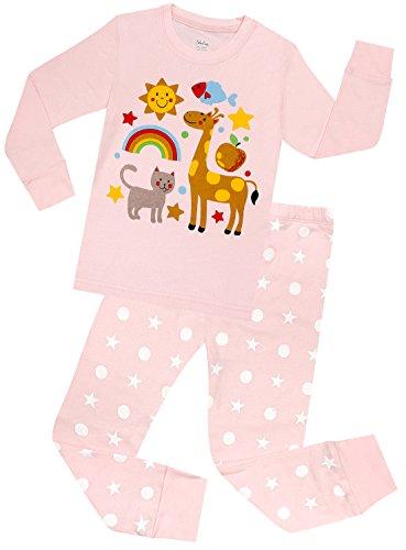 Girls Giraffe Pajamas Set Children Cotton Clothes Christmas Gift Pjs Size 6Y