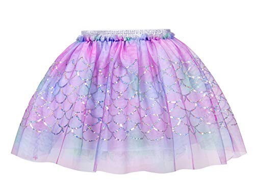 HenzWorld Girls Tutu Skirt Little Mermaid Dress Up Ariel Princess Birthday Party Multi-Layer Dnace 7t]()