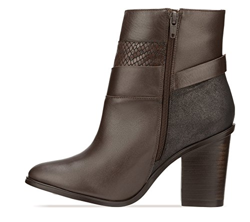 Brown Genuine Leather Combined Textured Calfskin Ankle Boot mhTbTN6fBz