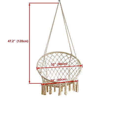 BEAMNOVA 265 lbs Capacity Hammock Chair with Hanging Hardware for Indoor Outdoor Beige by BEAMNOVA (Image #4)