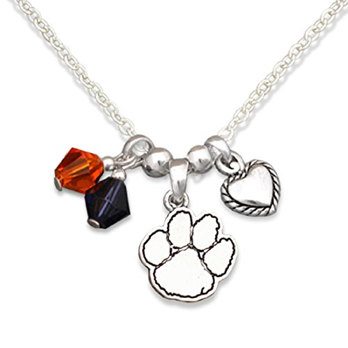FTH Silver Tone Necklace Featuring Team Color Beads, Heart and Clemson Tigers Logo Charm (Heart Necklace Clemson)