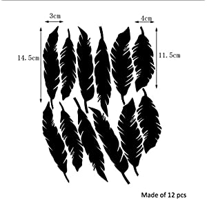 Buzdao Feather Wall Sticker DIY Peel and Stick Art for Kids Room Home Decor Wall Decals Wallpaper Baby Room Poster Wall Decoration