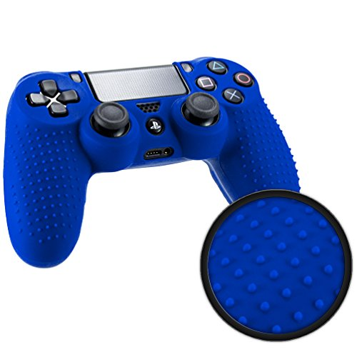 Playstation 4 STUDDED Controller Skin by Foamy Lizard ® ParticleGrip Premium Protective Anti-slip Silicone Grip Case Cover for PS4 Controller (Electron - Blue)