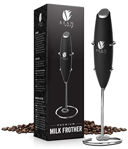 Bean Envy Electric Milk Frother Handheld, Perfect For The Best Latte, Whip Foamer, includes Stainless Steel Stand