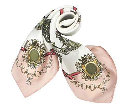 100% Pure Mulberry Silk Small Square Scarf -21'' x 21''- Breathable Lightweight Neckerchief -Digital Printed Headscarf (Light Pink & White)
