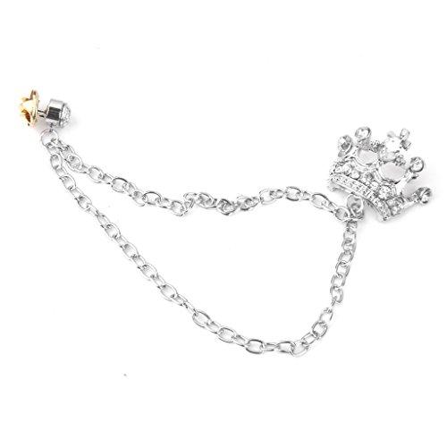 Men's Crown Tassel Chain Brooch Lapel Pin for Coat Suit