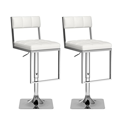 CorLiving DAB-818-B Square Tufted Adjustable Barstool in White Leatherette (Set of 2) Chrome Dining Room Bar Stool