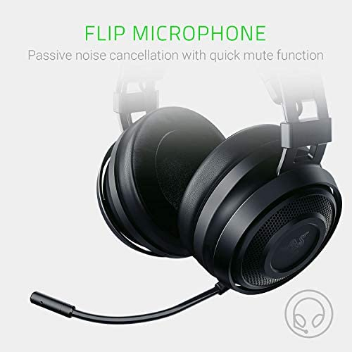 Razer Nari Essential Wireless 7.1 Surround Sound Gaming Headset: THX Spatial Audio - Auto-Adjust Headband & Swivel Cups - Auto-Adjust - Flip Mic - For PC, PS4, PS5 Only - Black