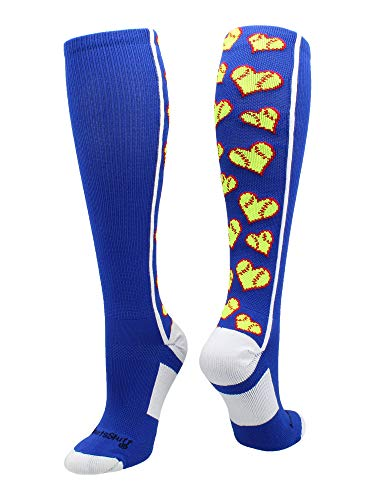 0a901bc0641 MadSportsStuff Love Softball Socks with Hearts Over The Calf (Royal White