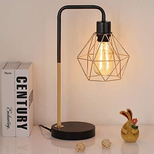 HAITRAL Vintage Table Lamp - Nightstand Lamp, Bedside Desk Lamp for Bedroom, Office, College Dorm with Metal Base - Gold