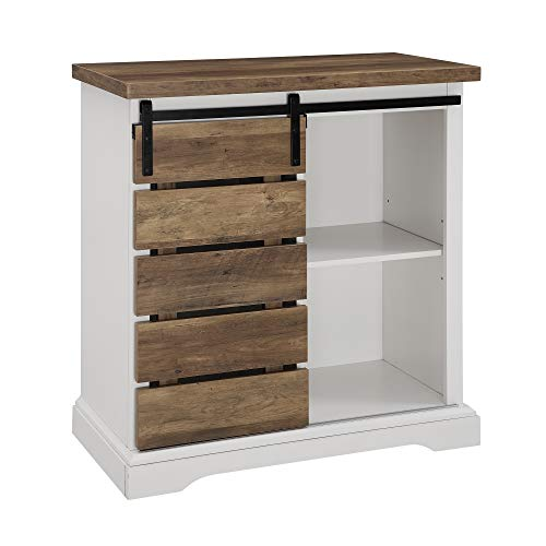 WE Furniture AZF32ALSDRO Buffet, 32'', Solid White/Rustic Oak by WE Furniture (Image #3)