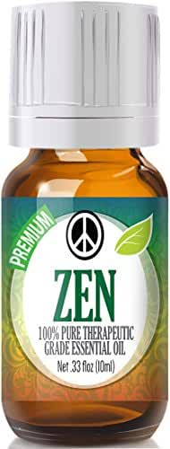 Zen Blend 100% Pure, Best Therapeutic Grade Essential Oil - 10ml - Comparable to Young Living's Peace & Calming - Sweet Marjoram, Roman Chamomile, Ylang Ylang, East Indian Sandalwood, Vanilla, French Lavender