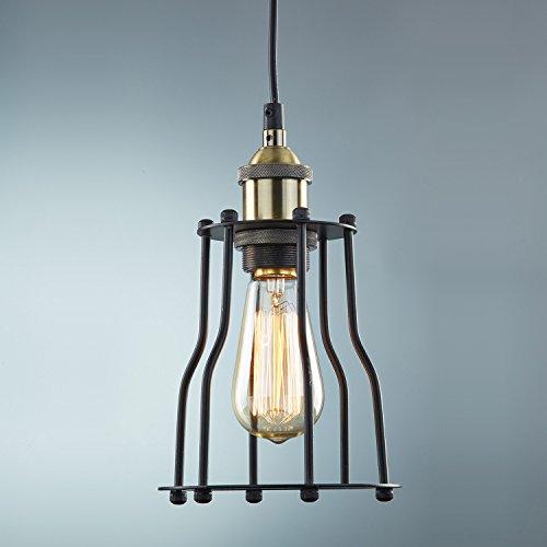 Ecopower Industrial Edison Hanging Light Pendant Light Vintage Cage Featured Lamp Guard 1-Light