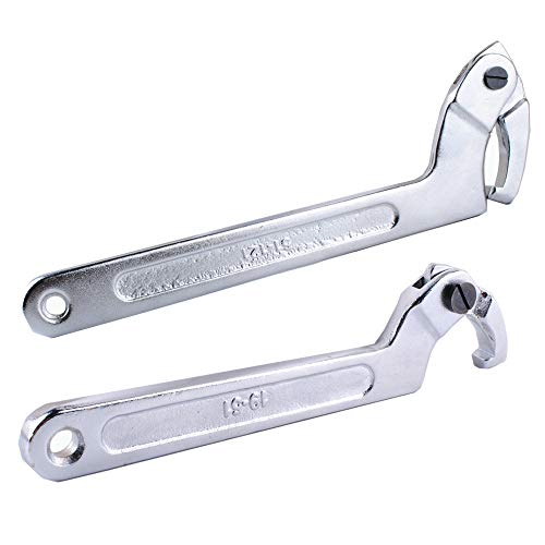 "Wadoy Adjustable C Spanner Hook Wrench Chrome Vanadium 3/4-2""(19-51Mm)+2-4 3/4""(51-121Mm) Spanner Set-Used to Tighten Side Slot Nuts on Collars, Lock Nuts and Bearings"