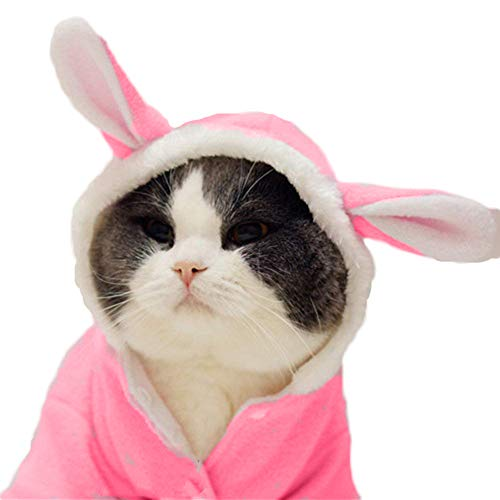 Delifur Dog Easter Bunny Costume Pet Rabbit Hoodie Adorable Dog Coat for Small Dog and Cat (M) -