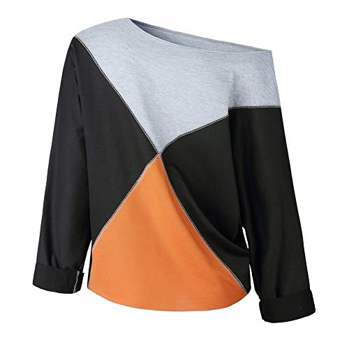 T Shirt Patchwork Blouse Black Strapless Sleeve Pullover Rawdah Fashion Sweatshirt Women Long XW0Y7
