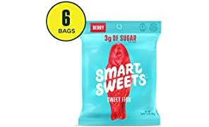 SmartSweets SweetFish 1.8 oz bags (box of 6), Candy with Low-Sugar (3g) & Low Calorie (80)- Free of Sugar Alcohols & No Artificial Sweeteners, Sweetened with Stevia