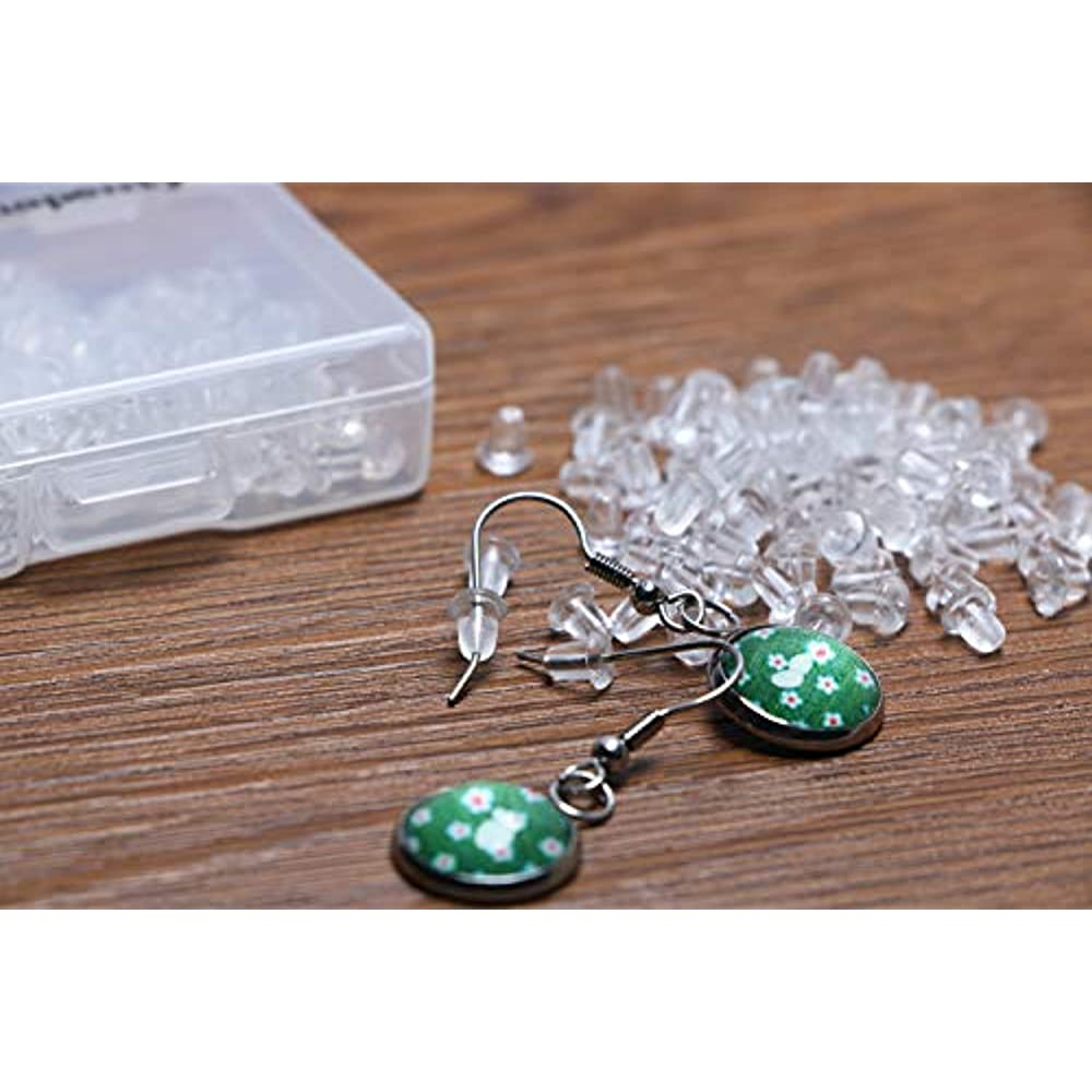 Clear, 200PCS//100Pairs Shapenty Clear Color Plastic Rubber Bullet Clutch Earring Safety Back Stopper Replacement for Fish hook Earring