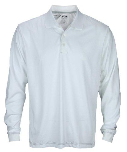 (adidas Men's ClimaCool Long Sleeve Pique Polos (Large, White/Black))