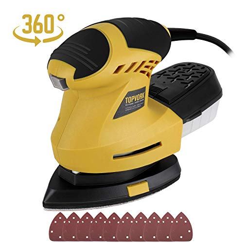 Electric Mouse Detail Sander, Ginour 1.6 Amp/12,000 OPM Mouse Sander with 10 Pcs Sandpapers (80 & 180 Grits), 360°Rotating Sanding Pad, 3M Cord, Dust Container, Perfect for Tight Spaces Sanding