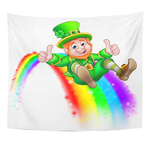 Emvency Tapestry Green End Cute St Patricks Day Leprechaun Cartoon Character Sliding on Rainbow and Giving Thumbs Up White Home Decor Wall Hanging for Living Room Bedroom Dorm 60x80 Inches]()