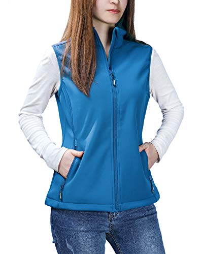 Outdoor Ventures Women's Mia Lightweight Sleeveless Fall Windproof Soft Bonded Fleece Softshell Zip Vest Blue (Bonded Fleece Outerwear)