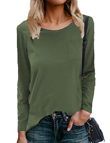 Hount Women's Fall Long Sleeve Blouse Side Split Loose Casual Pullover Tunic Tops (Solid Army Green, L)