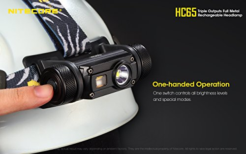 Nitecore HC65 1000 Lumen USB Rechargeable Headlamp with White/Red/High CRI Outputs and Lumen Tactical Battery Organizer by Nitecore (Image #4)