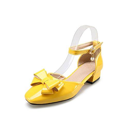 Cinturino giallo Punta Caviglia Alla Square Sandali Tacco Basso QIN Donna amp;X FAqgRg