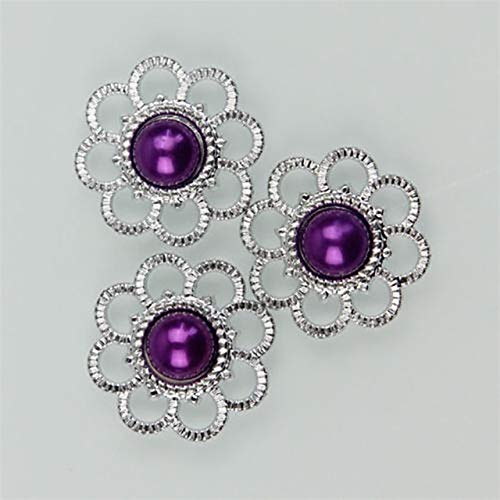 (BeesClover 30Pcs Rhinestone Pearl Button Flower Flatback Scrapbooking for Phone Bag Wedding DIY Craft 13 Color for Choose Dark Purple)