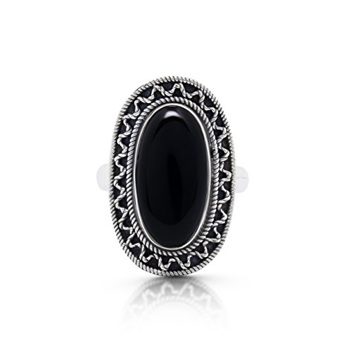 Koral-Jewelry-Black-Onyx-Vintage-Gipsy-Ring-925-Sterling-Silver-Boho-Chic-US-Size-7-8-9