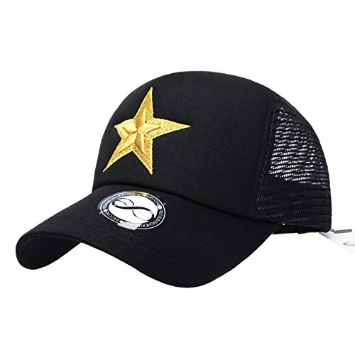 (EASTONE Embroidery Double Star Baseball Cap Meshed Adjustable Cotton Trucker Hat (Black))