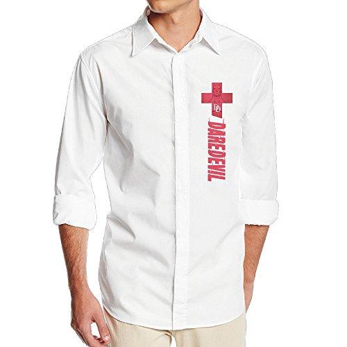 [FUOALF Mens Daredevil Superhero Long Sleeve Button Down Collar Dress Shirt] (Iron Fist Superhero Costumes)