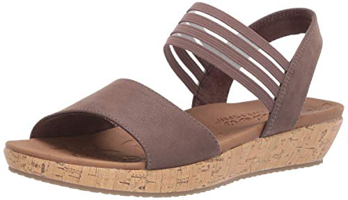 Skechers Women's Brie-LO'PROFILE-Stretch Mesh Vamp Sling Back Sandal Sport, Chocolate, 5 M US ()