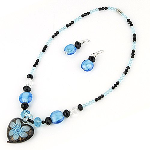 Heart Pendant Murano Glass Necklace with Matching Murano Glass Beads Earrings Set (Murano Glass Necklace Earrings)